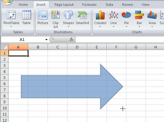 how to insert shapes in an excel 2007 worksheet dummies. Black Bedroom Furniture Sets. Home Design Ideas