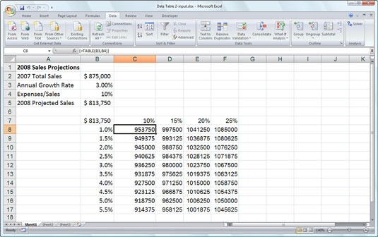 Playing What-If with Excel 2007's Data Tables - dummies