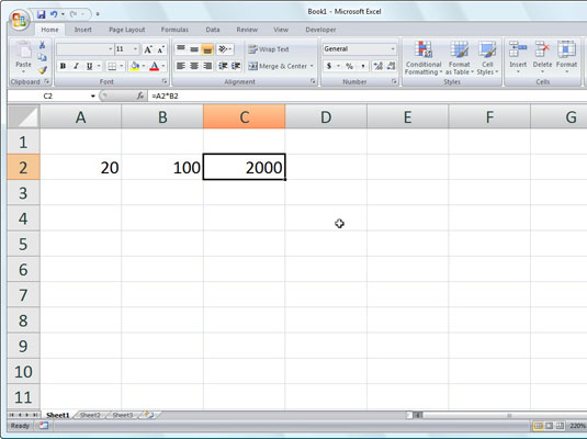 Click the Enter box, and Excel displays the answer in cell C2 while the formula appears in the Form