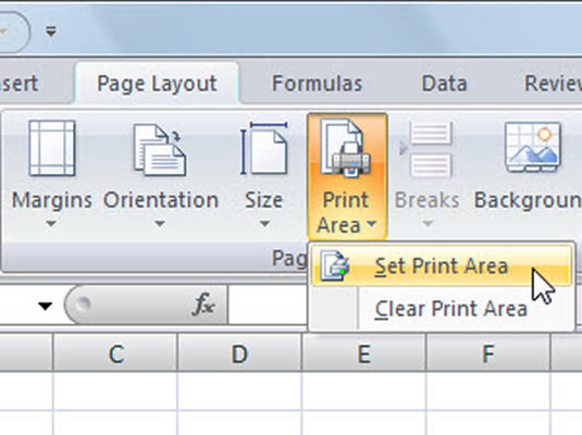 Use the Print Area command to set or clear a print area.