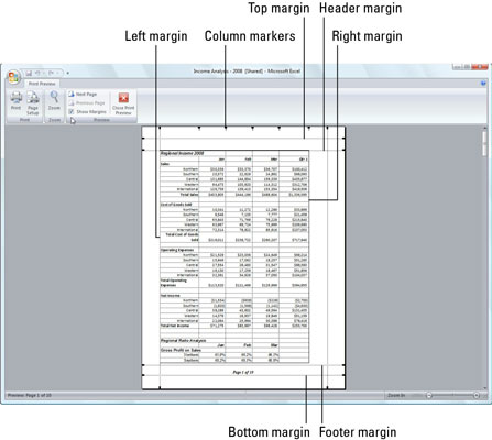 Drag a marker to adjust its margin in the Page Preview window when the Show Margins check box is se