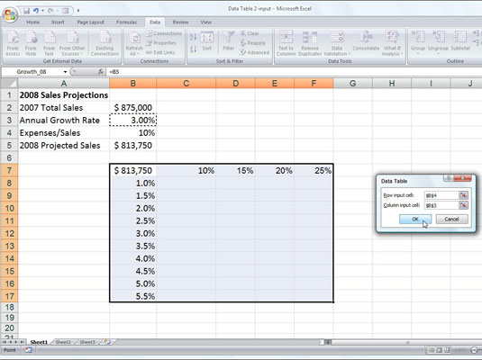 Sales projection worksheet with a series of possible growth and expense percentages to be plugged i