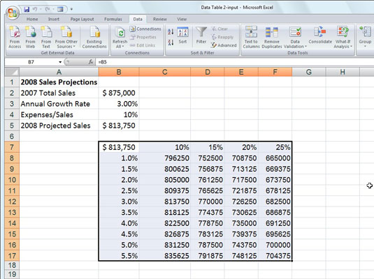 Sales projection worksheet after creating the two-variable data table in the range C8:F17.