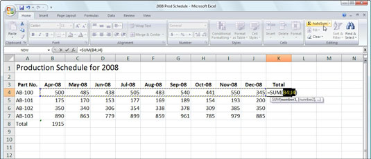 using autosum for quick calculations in excel 2007 dummies. Black Bedroom Furniture Sets. Home Design Ideas