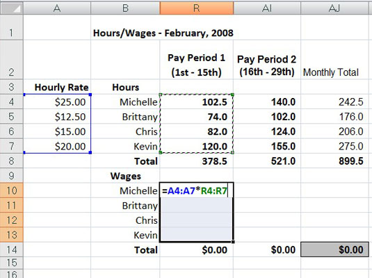 Building an array formula to calculate hourly wages for the first pay period.