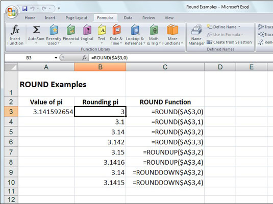 Rounding off the value of pi with the ROUND, ROUNDUP, and ROUNDDOWN functions.