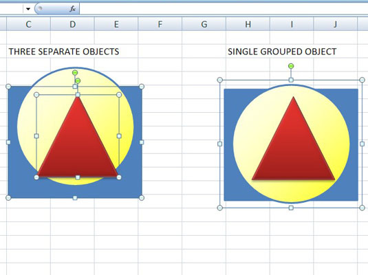 A rectangle, circle, and triangle grouped together as one object.