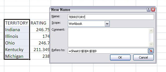 Use the New Name dialog box to assign a name to the selected range.