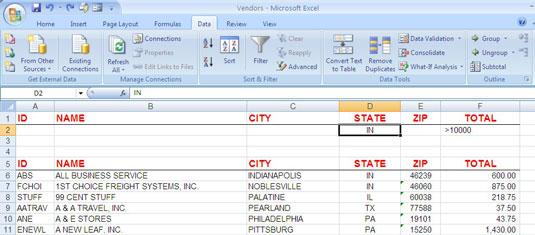 Lọc one bảng tính Excel with the hai or nhiều tiêu chí.