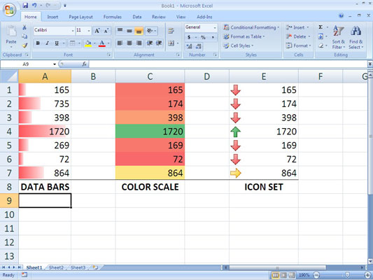 Examples of data visualizations in Excel 2007: data bars, a color scale, and an icon set.