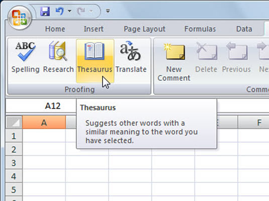how to use the thesaurus in excel 2007