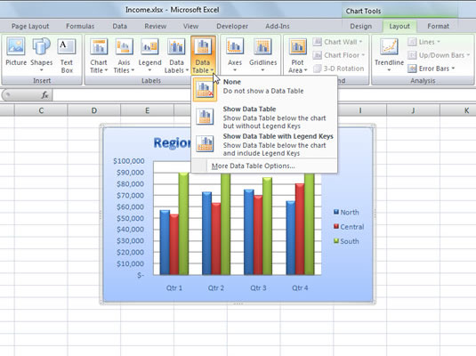 How to add a data table to an excel 2007 chart dummies for Table design tab excel