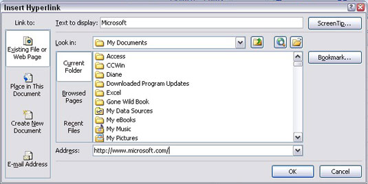 How to Insert a Hyperlink to a Different Cell in an Excel 2007