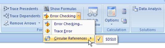 Hunting down circular references via the Formulas tab.