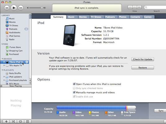Use iTunes to update or restore your iPod.