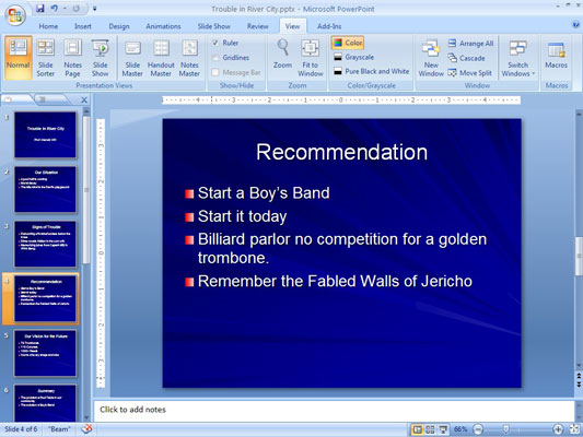 Click on the Outline tab on the left end of the Ribbon to open the Outline View.