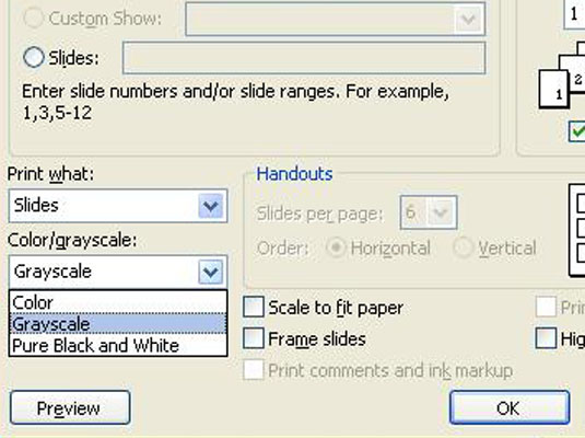 Color Grayscale This Drop Down List Lets You Choose Whether To Print Your Slides In Black And White Or With Shades Of Gray