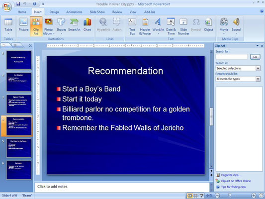 How to Add Clip Art to a PowerPoint 2007 Slide - dummies