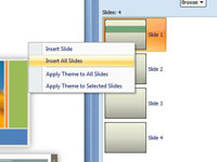 How to apply a powerpoint 2007 template to an existing insert all the slides from the presentation toneelgroepblik Gallery