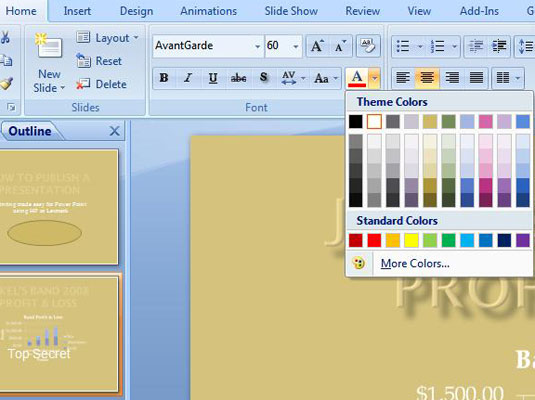 Drop-down list that appears when you click the Font Color button on the command bar in PowerPoint.