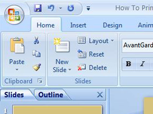 The Home tab on PowerPoint's Ribbon.