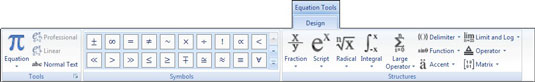 Create equations using the Equation Tools Design tab.
