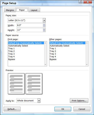 setting your paper size