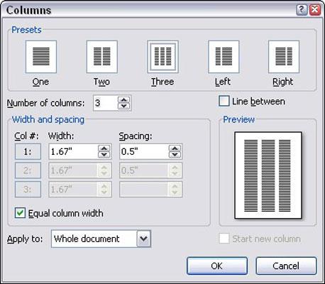 The Columns dialog box.