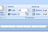 Adding a left indentation to a Word document.