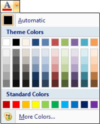 The Font Color menu shows a palette of colors.