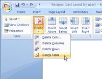 Delete button in Word 2007