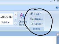 The editing menu in Word.