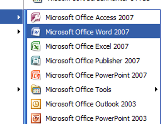 If You Cant Find Word On The All Programs Menu Look For A Submenu Named Microsoft Office Or 12 Even 2007 May Be Lurking That