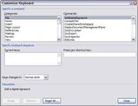 The Customize Keyboard box in Word 2007