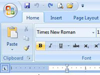 The Office button in Microsoft Word 2007.