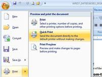The print menu in Office 2007
