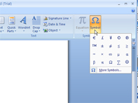 The symbol drop-down list in Word.