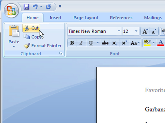 How to Cut and Paste (Move) Text in Word 2007 - dummies