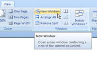 The view tab in Microsoft Word.