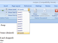 You can choose how much of a document to print on the Show Level drop-down list.