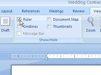 The View Ruler button in Word 2010.