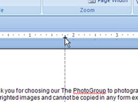 Setting a center tab for a word document.