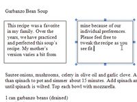 Two linked boxes in a Word document.