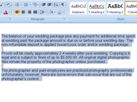 Selecting text in Word.