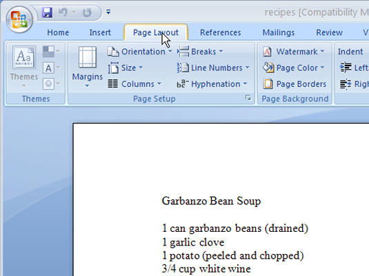 How to Create a Section in Word 2007 - dummies
