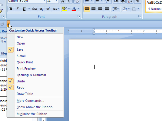 how to restore the quick access toolbar in word 2007