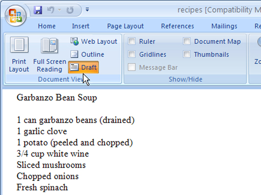 How to delete a section break in word 2007 dummies choosing how to view a document on word ccuart Image collections