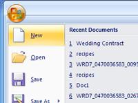 The main menu in Microsoft Word.