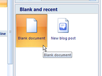 The New Document window in Microsoft Word.
