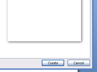 The create button in Word.